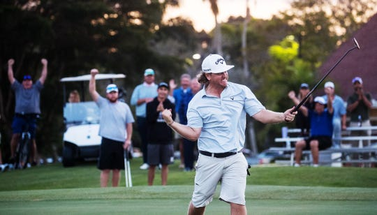 Connor Arendell reacts after winning the Yuengling Open on a two hole play off over Steve Cuzzort on Sunday at Fort Myers Country Club.