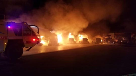 Multiple fire departments were on the scene of a fire involving seven semi-trailers and one excavator off Pennsylvania Street near Alico Road.