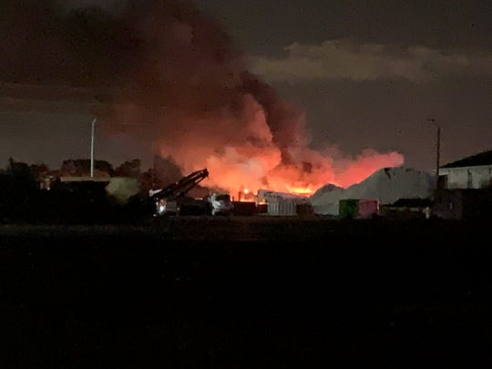 A fire and explosions at 7050 Pennsylvania Street off Alico Road in south Lee County brought units from several fire departments to the property late Sunday.