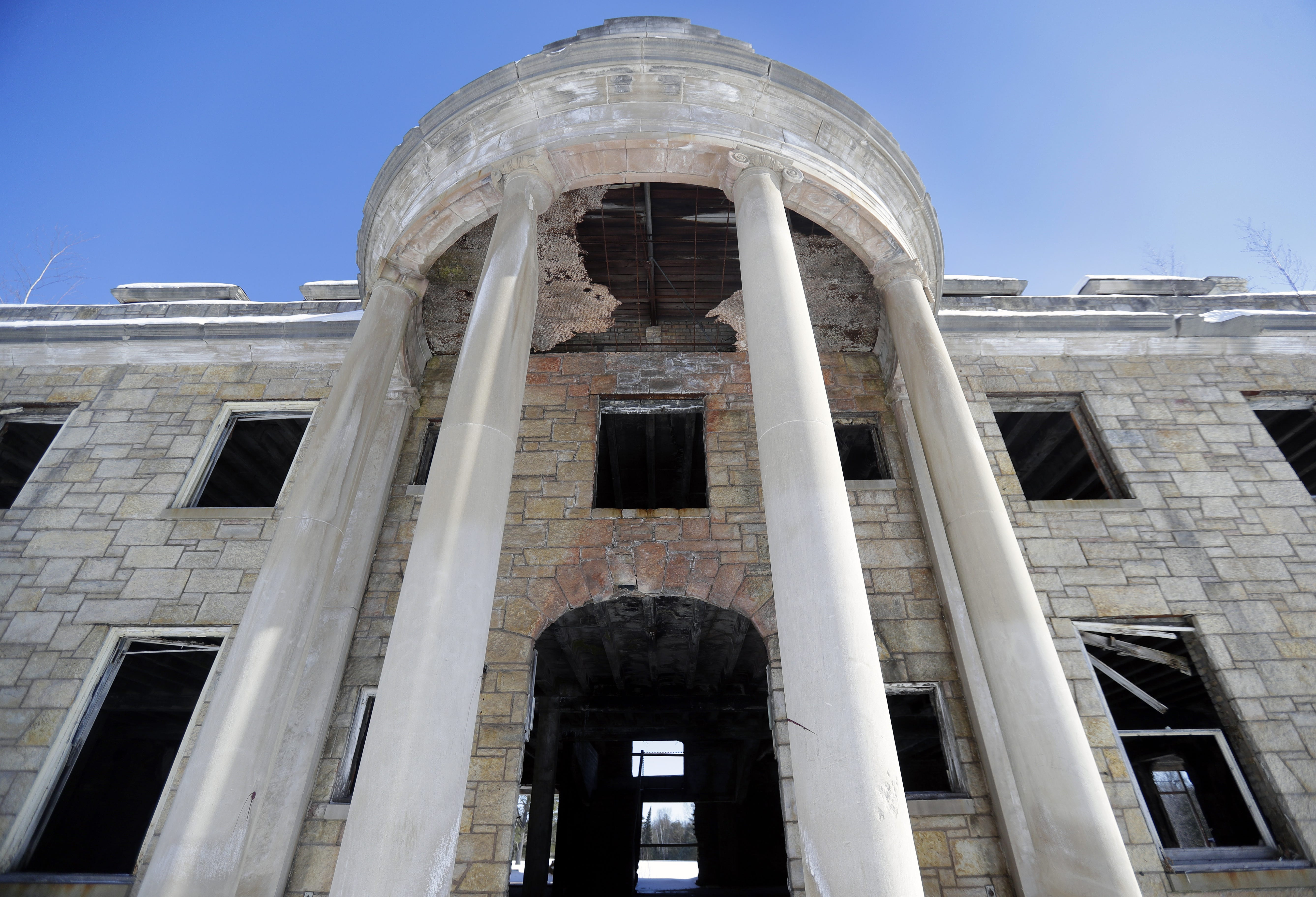The once-grand entrance to the 25,000-square-foot limestone mansion located on the former grounds of the Alexian Brothers Novitiate  in Gresham.