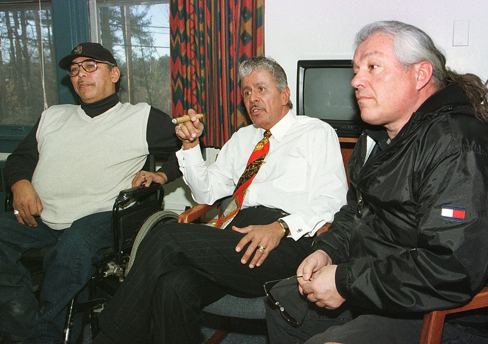 Members of the Menominee Warrior Society, from left, Royal Warrington,  Apesanahkwat and Ken Fish, recount their takeover of the Alexian Brothers Novitiate on Jan. 1, 1975 during a 1999 interview.