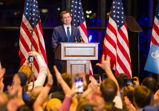 Pete Buttigieg ends his presidential campaign during a speech to supporters in South Bend, Indiana.