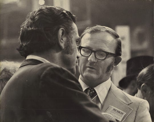 "William ""Bill"" Sueppel, right, speaks with former U.S. Senator and Iowa Governor Harold Hughes, left. The date is unknown."