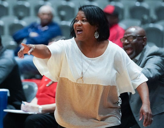 Baldwyn head coach Reneetra Pippin calls for a play in MHSAA Girls Semifinals action at the Mississippi Coliseum in Jackson Mississippi March 2nd, 2020.