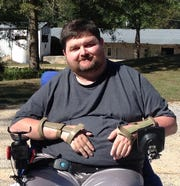 Edward Runnels of Mize, Miss., fell from a tree stand in 2010. It left him paralyzed from the neck down.