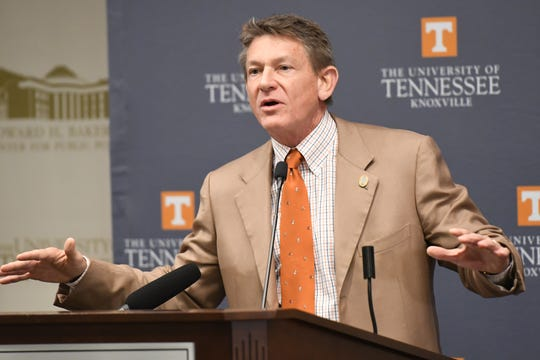 University of Tennessee Interim President Randy Boyd speaks at the press conference announcing the Grow Your Own partnership between the University of Tennessee and Knox County Schools at the Baker Center in Knoxville, Tennessee on Monday, March 2, 2020.