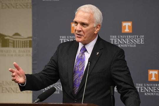 Knox County Schools Superintendent Bob Thomas speaks at the news conference announcing the Grow Your Own partnership between the University of Tennessee and Knox County Schools at the Baker Center in Knoxville on Monday, March 2, 2020.