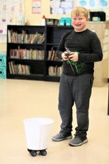 Adrian Burnett fifth-grade student Wesley Wise demonstrates his 'Can-on-the-go' invention on Feb. 28, 2020.