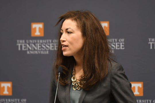 Tennessee Education Commissioner Penny Schwinn speaks at a news conference announcing the Grow Your Own partnership between the University of Tennessee and Knox County Schools at the Baker Center in Knoxville on Monday, March 2, 2020.