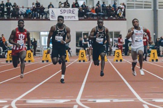 Purdue's Waseem Williams (second from left) wins the 60-meter dash at the Big Ten Indoor Championships in Geneva, Ohio