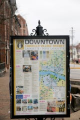 A map in Chauncey Village shows downtown Lafayette and West Lafayette, Monday, March 2, 2020 in West Lafayette.