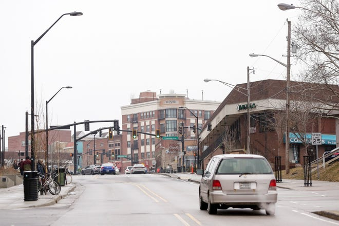 A car drives westbound on State Street towards Chauncey Avenue, Monday, March 2, 2020 in West Lafayette.