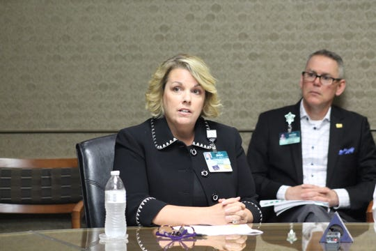 Joan Stokes of  Lafayette General Health speaks to reporters about the coronavirus on Monday, March 2, 2020.