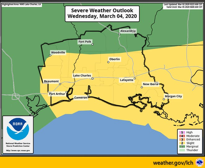 The National Weather Service in Lake Charles is predicting a slight risk for severe weather across Acadiana Tuesday afternoon into Thursday, with damaging winds and hail expected Tuesday night into Wednesday near Lafayette.