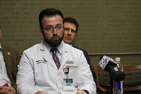 """Dr. Garabet """"Garo"""" Akoghlanian of Lafayette General Health speaks to reporters about the coronavirus on Monday, March 2, 2020."""