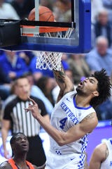 UK F Nick Richards dunks the ball during the University of Kentucky basketball game against Auburn University at Rupp Arena in Lexington, KY on Saturday, February 29, 2020.