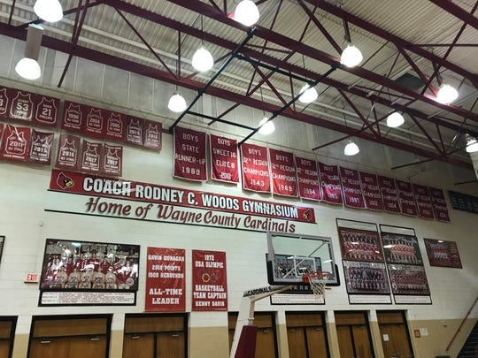 The gymnasium at Wayne County High School is named after boys basketball coach Rodney Woods.