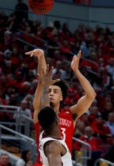 Louisville's Jordan Nwora knocks down a three against Virginia Tech on Mar. 1, 2020.