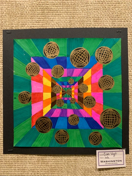 Youth Art Month Mayor's Choice Award winning work by Evan Vogt of Washington Middle School.