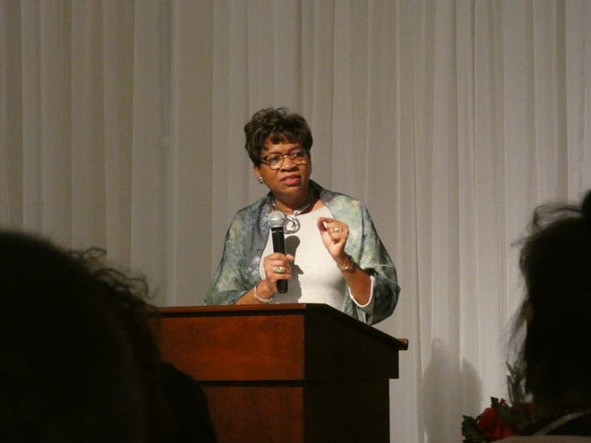 Ohio Supreme Court Justice Melody Stewart, the first black woman elected to Ohio's highest court, addresses the annual awards banquet of the Black Heritage Council of Marion County Saturday.