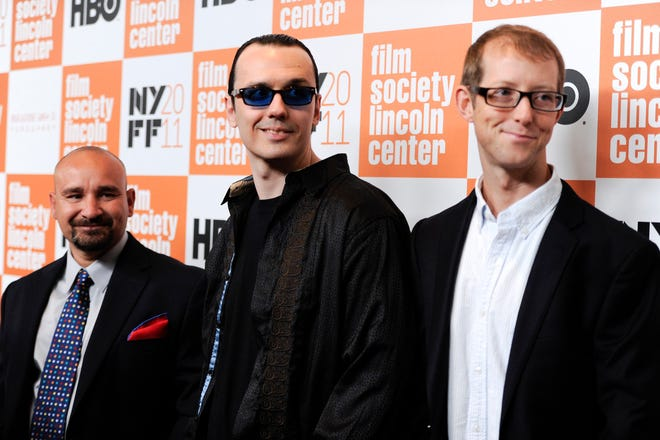"The ""West Memphis Three"", from left, Jessie Misskelley Jr., Damien Echols and Jason Baldwin attend a special screening of ""Paradise Lost 3: Purgatory"" during the 49th Annual New York Film Festival at Alice Tully Hall on Monday, Oct. 10, 2011 in New York."