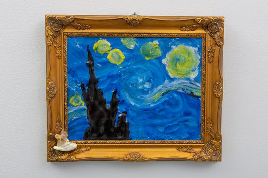 "At the Racine Art Museum's annual International Peeps Art Exhibition, Aaron Costic and Anik Zuleta created ""Starry Night by Peep van Gogh"" out of melted Peeps, burlap, paint, wood toothpicks and thread."