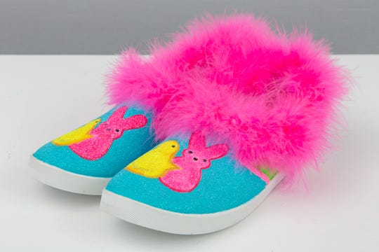 """Peep these Kicks"" was a 2019 entry into the Racine Art Museum's annual International Peeps Art Exhibition. Kristina Tsioutsiopoulos created it from shoes, acrylic paint, glitter and marabou."