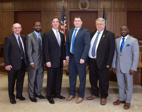 The Ouachita Parish Police Jury is, from left: Larry Bratton, District C; Lonnie Hudson, District F; Shane Smiley, District E; Scotty Robinson, District A; Jack Clampit, District B; and Michael Thompson, District D.