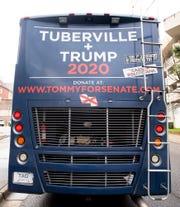 Tommy Tuberville stops in Montgomery, Ala., on Monday March 2, 2020 for breakfast and a little campaigning during his bus tour of Alabama. Tuberville is a republican running for the U.S. Senate.