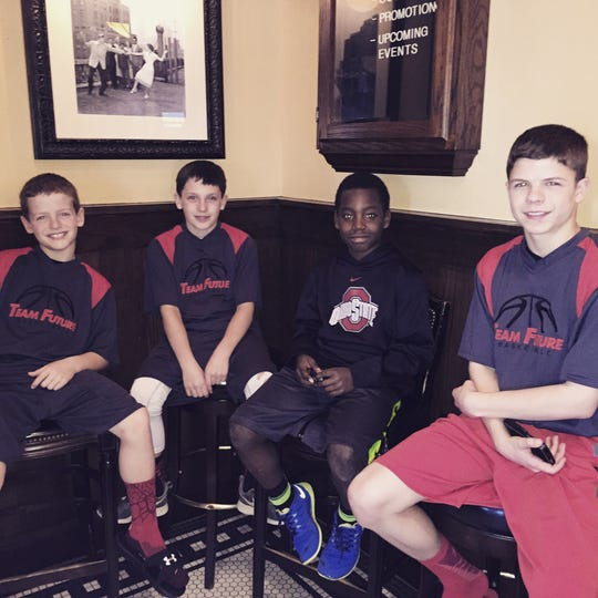From left to right: Luke Jones (fourth grade), Jackson Ullom (fifth grade), Josiah Ullom (fourth grade) and Will Jones (seventh grade) smile for a picture.