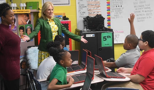 Jill Biden answered questions from students as she visited John Early Museum Magnet Middle School in Nashville, Tenn. Monday, March 2, 2020. Biden visited the city while campaigning for her husband, former Vice PresidentJoe Biden, in the democratic primary ahead of Super Tuesday.