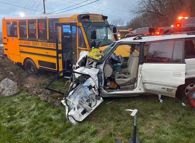 A Williamson County school bus and white four-wheel drive vehicle were involved in a crash on Monday in Arrington in Williamson County.