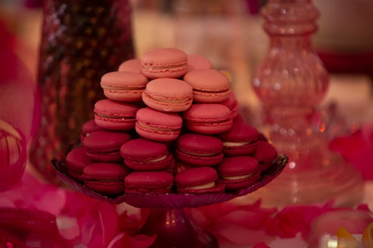 A plate of macaroons is displayed on a table by Peter Antanelis of Antanelis Designs during The League Club's annual Naples Tablles event, Monday, March 2, 2020, at the Ritz Carlton Tiburon Golf Resort in North Naples.