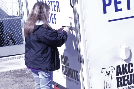 Aztec Animal Shelter Director Tina Roper opens the new pet disaster relief trailer, Monday, March 2, 2020, in Aztec.