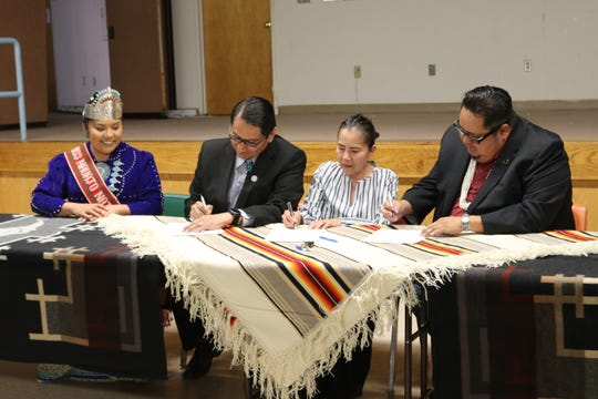 Navajo Nation President Jonathan Nez, Chief Justice JoAnn Jayne and Speaker Seth Damon sign a proclamation that focuses on the census on Feb. 20 in Window Rock, Arizona.