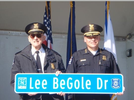 Former Novi Police Chief Lee BeGole with current Police Chief David Molloy. Begole, who served Novi for 37 years, died Feb. 29, 2020 at the age of 99.