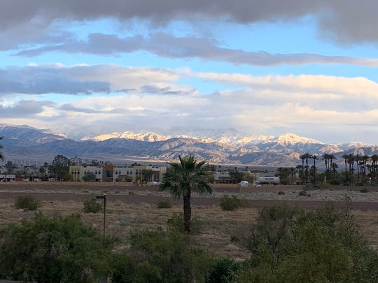 Snow is visible in the San Bernardino Mountains Monday, March 2, 2020. It came from a storm that brought small amounts of rain to the Coachella Valley.