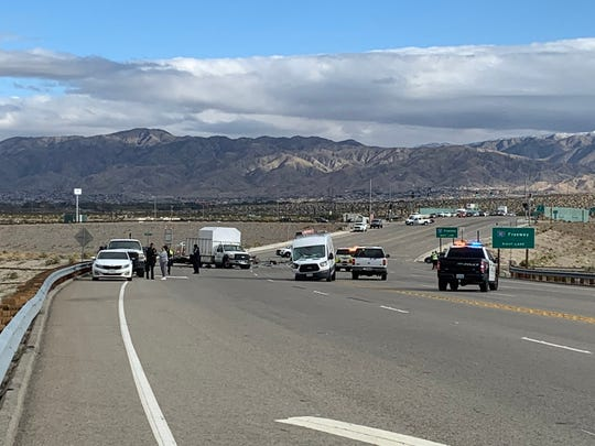 Gene Autry Trail is closed between Interstate 10 and Vista Chino due to a four-vehicle collision. Police say a woman has sustained major injuries on Monday, March 2, 2020, in Palm Springs, Calif.