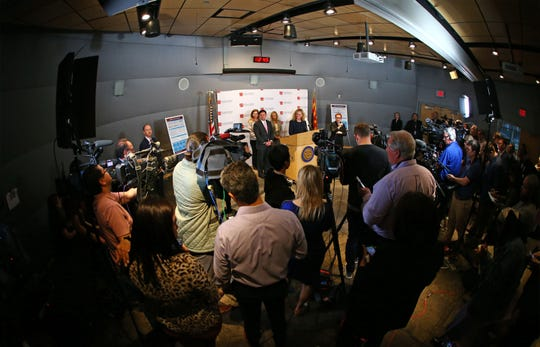 Arizona Department of Health Services Director Dr. Cara Christ and Governor Doug Ducey (left) hold a press conference to update ArizonaÕs preparedness for COVID-19 (previously known as novel coronavirus) at the Arizona State Public Health Laboratory on Mar. 2, 2020 in Phoenix, Ariz.
