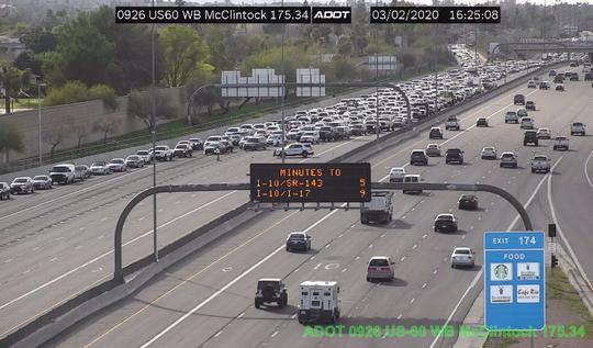 A crash near McClintock Drive shuts down eastbound traffic on U.S. 60 on March 2, 2020.