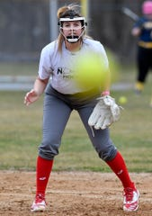 Eastern York's Kelsey Felix watches the ball from first base during the first official day of spring sports practice on Monday, March 2, 2020. Felix has committed to play NCAA Division I field hockey for Lock Haven. John A. Pavoncello photo