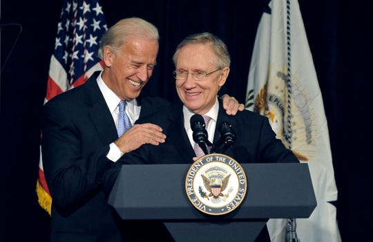 Vice President Joe Biden, left, and Nevada Senator Harry Reid at the Lawlor Events Center on Oct. 16, 2009. The Vice President  and Senator Reid spoke on the progress of the American recovery and the Reinvestment Act.