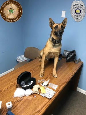 Wayne County Sheriff's Office K9 Ozzy helped recover methamphetamine and other drugs during a traffic stop Saturday morning near the intersection of U.S. 40 and Airport Road.