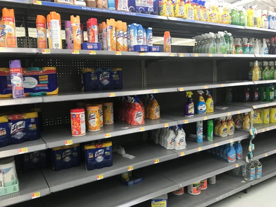 Depleted cleaning-product display at Walmart in Henrietta