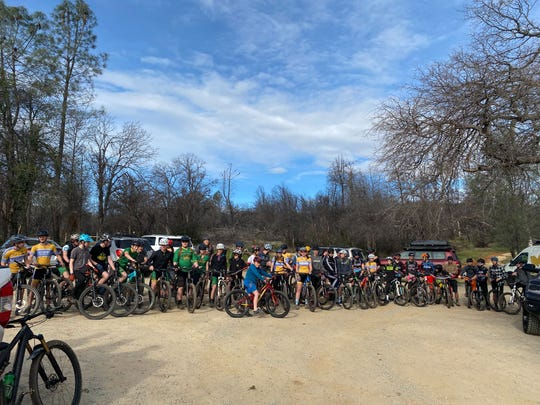 High school students practicing for the National Interscholastic Cycling Association mountain bike race. About 1,000 competitors are anticipated for the race, which is happening in Redding for the first time ever and occurs on March 7, 2020.
