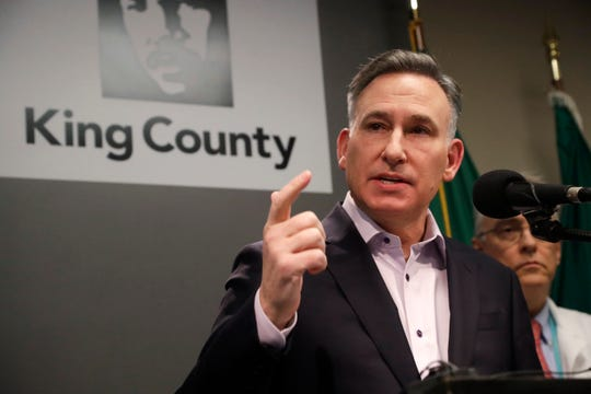 King County Executive Dow Constantine addresses a news conference at Public Health & Seattle & King County Feb. 29, 2020, in Seattle. A man in his 50s with underlying health conditions became the first coronavirus death on U.S. soil.