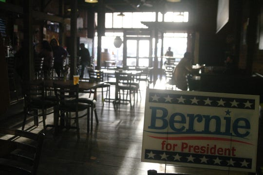 A 'Bernie for President' sign sits in the back of XL Public House in Salinas, welcoming supporters. March 1, 2020