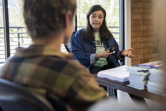 Volunteer organizer and UT student Katya Ehresman, 20, briefs a group of volunteers who support Sen. Elizabeth Warren on Feb. 22.