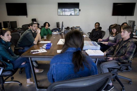 """""""In 2018, with Beto (O'Rourke) targeting a lot of college students, we realized how immediate our time to act is,"""" said Katya Ehresman, seen briefing volunteers last month. """"So now, I think a lot of us think it's not just important to vote, but to actually care about these issues and to get involved in them because they affect us."""""""