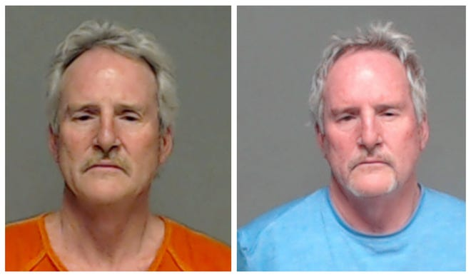 From left: Mug shot of Rick Waddell from  2016 and 2020